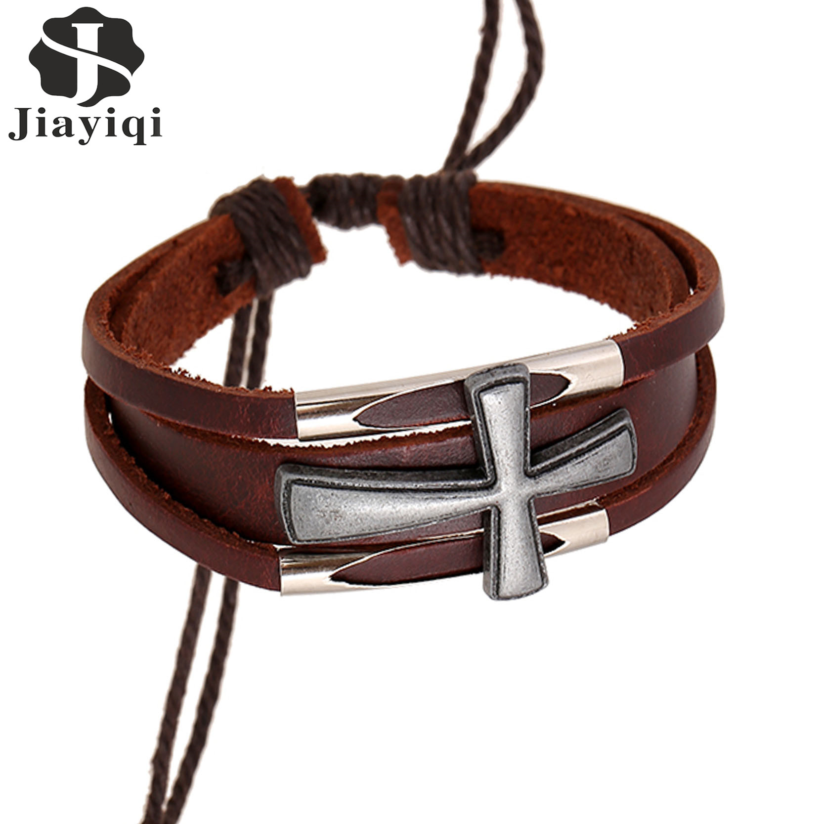 Leather Wrap Charm Bracelet: Designer Jewelry Vintage Crosses Wrap Leather Bracelet Men