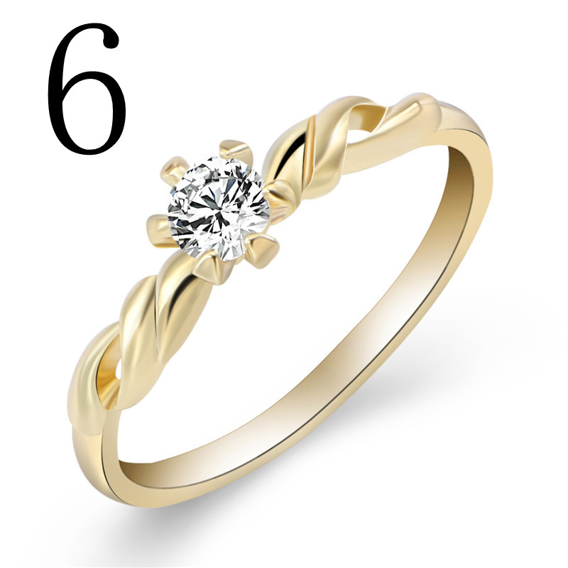 Unique Engagement Rings For Women: Unique Design Twist Gold Plated Finger Ring Crystal
