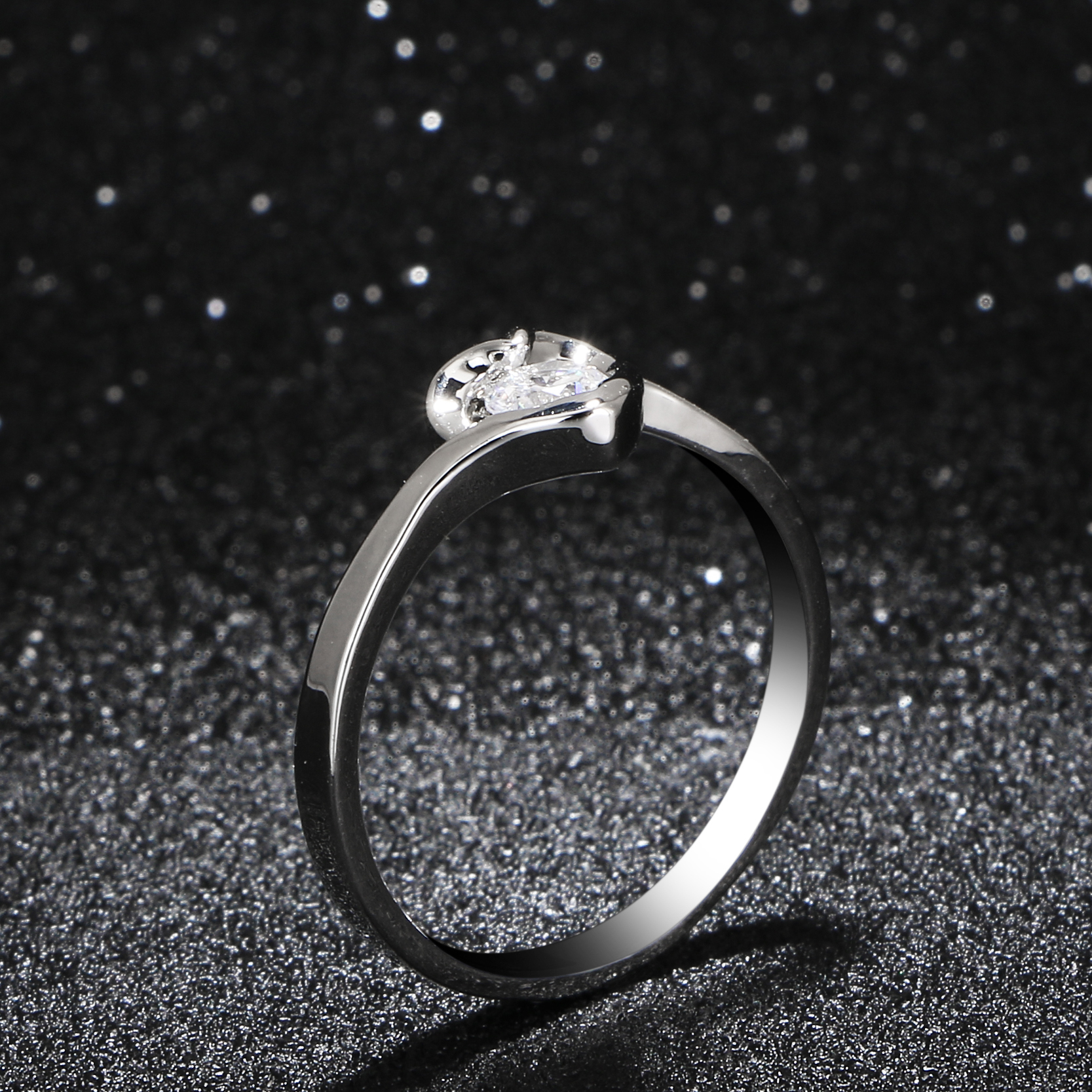 s charm silver plated hollow ring bling